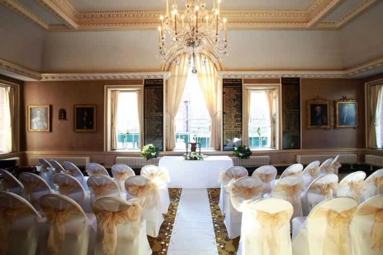 The Council Chamber, The Council House, North Street, Chichester. Laid out for a wedding
