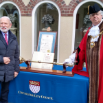 Image showing Phillip Jackson, CVO, DL, MA, FRBS, with the Mayor, Councillor Plowman, on the occasion of the receipt of the Freedom of the City of Chichester