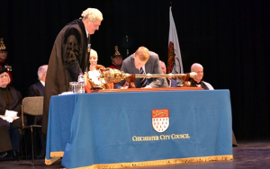 Image showing Tim Peake, CMG, with the Mayor, Councillor Evans and the Town Clerk, on the occasion of the receipt of the Freedom of the City of Chichester at Chichester Festival Theatre