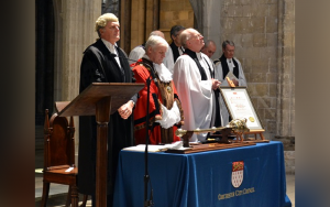 Image showing the Very Reverend Nicholas Frayling with the Mayor of Chichester, Councillor J Hughes and the Town Clerk, on the occasion of the receipt of the Freedom of the City of Chichester in Chichester Cathedral