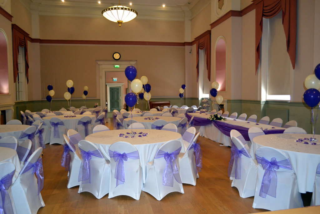 The Assembly Room set up for a wedding reception