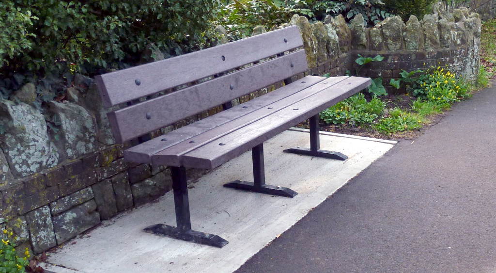 Lavant Road, new bench, installed March 2017 - recycled plastic style