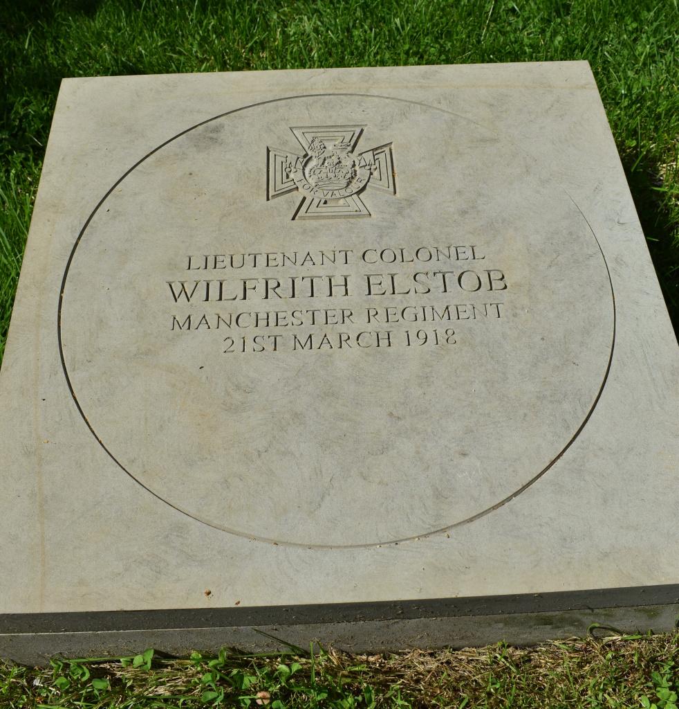 Picture showing the Elstob memorial stone in Litten Gardens, Chichester