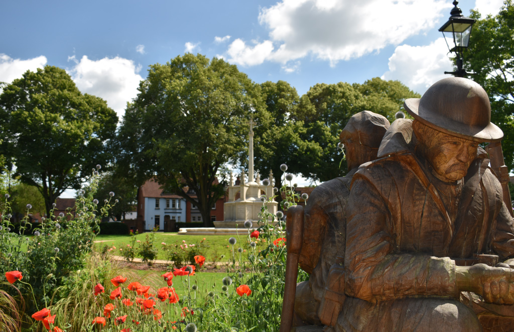 View of the War Memorial, Litten Gardens, from the Garden of Reflection and Reconciliation