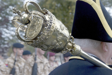 The Chichester City Council Mace on parade for Remembrance Sunday