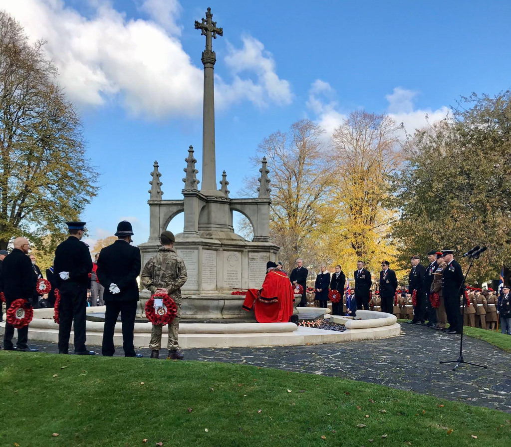 Mayor of Chichester laying a wreath at the War Memorial, Litten Gardens - Remembrance Sunday 2019