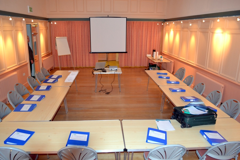 The Old Court Room set up for a boardroom style meeting
